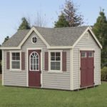 10x14 NE dormer shed clay vinyl, tan trim