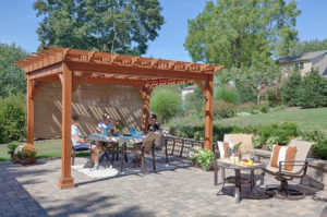 Decks Plus - Traditional Wood Pergola, Canyon Brown Stain, Burlap EZ Shade Side Curtain